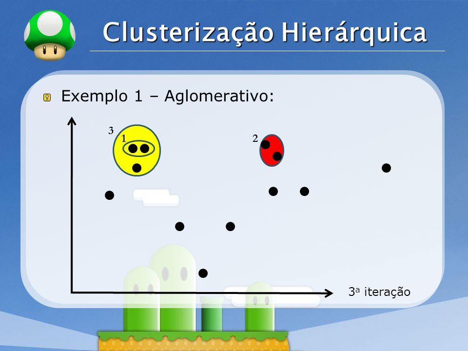 LOGO Clusterização Hierárquica Exemplo 1 – Aglomerativo: 3 a iteração 12 3