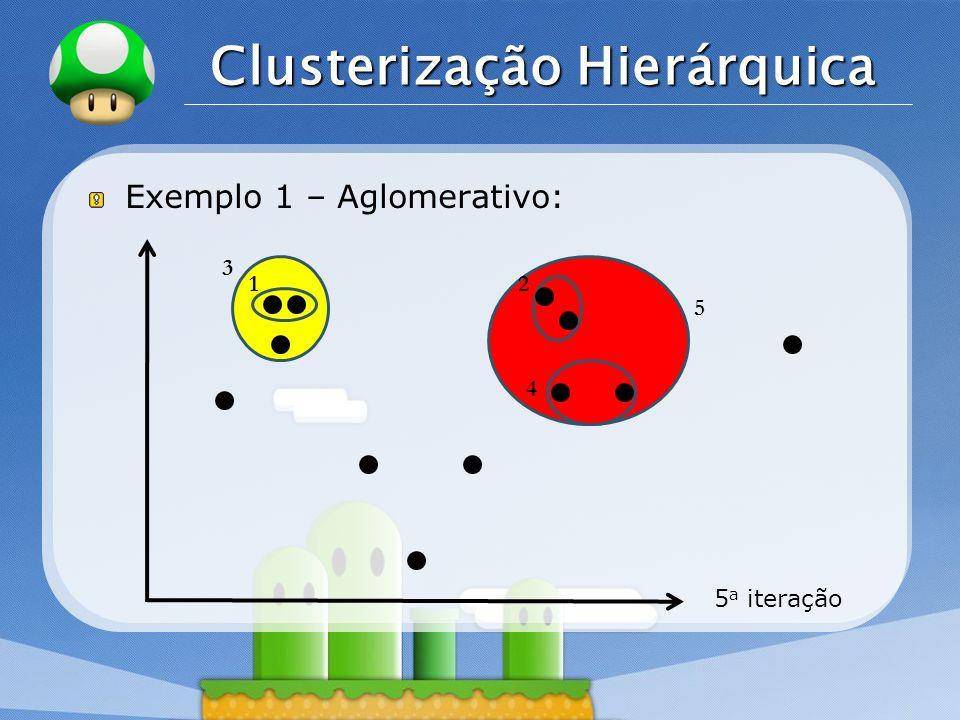 LOGO Clusterização Hierárquica Exemplo 1 – Aglomerativo: 5 a iteração 12 3 4 5