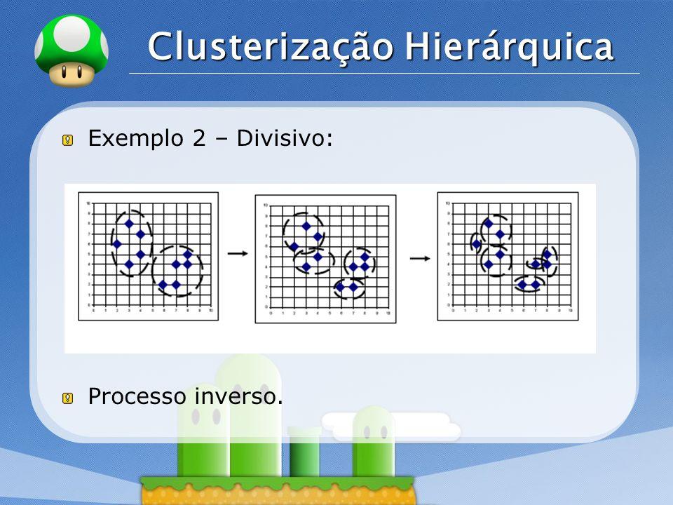 LOGO Clusterização Hierárquica Exemplo 2 – Divisivo: Processo inverso.