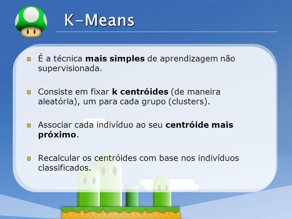 LOGO K-Means É a técnica mais simples de aprendizagem não supervisionada. Consiste em fixar k centróides (de maneira aleatória), um para cada grupo (c