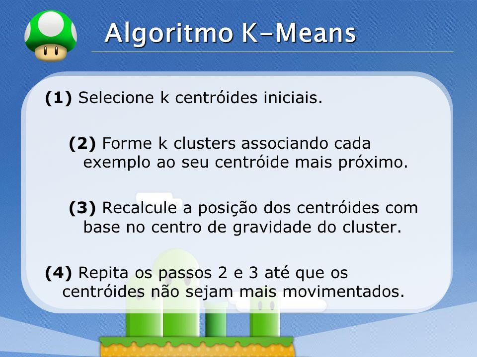 LOGO Algoritmo K-Means (1) Selecione k centróides iniciais. (2) Forme k clusters associando cada exemplo ao seu centróide mais próximo. (3) Recalcule