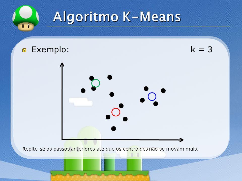 LOGO Exemplo: k = 3 Repite-se os passos anteriores até que os centróides não se movam mais. Algoritmo K-Means