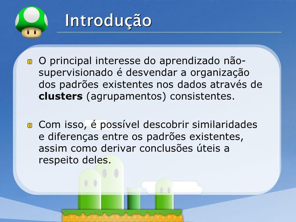 LOGO Introdução O principal interesse do aprendizado não- supervisionado é desvendar a organização dos padrões existentes nos dados através de cluster