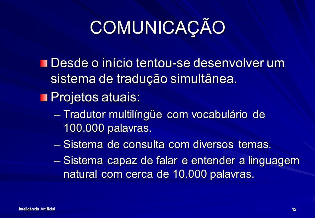Inteligência Artificial 11 DESAFIOS DA IA Comunicação e Percepção: –Linguagem Natural, –Visão, –Manipulação. Raciocínio Simbólico. Tomada de decisões