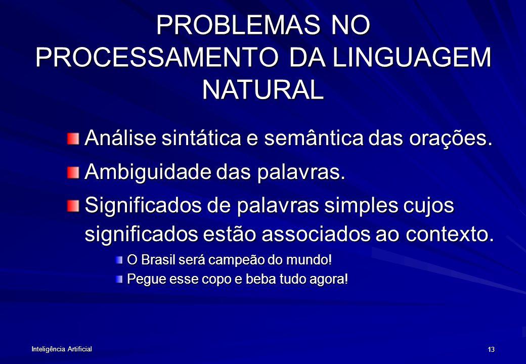 Inteligência Artificial 12 COMUNICAÇÃO Desde o início tentou-se desenvolver um sistema de tradução simultânea. Projetos atuais: –Tradutor multilíngüe