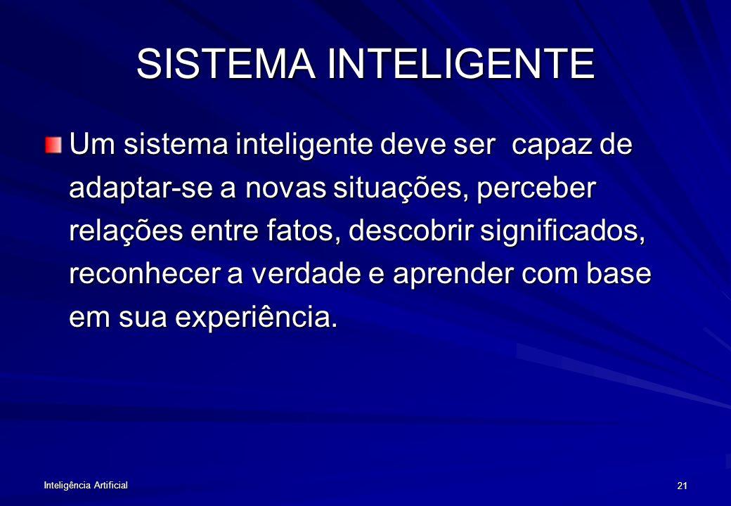 Inteligência Artificial 20 OBJETIVOS DA IA Desenvolver sistemas para realizar tarefas que ainda –Possam colocar em risco o ser humano –Possa ser execu