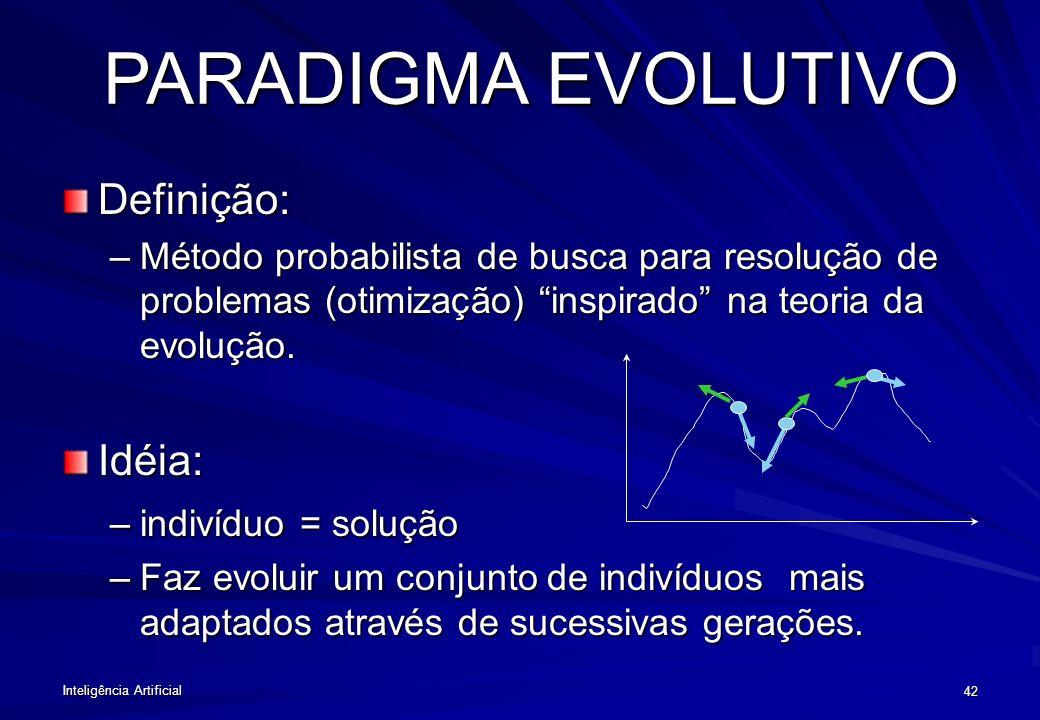Inteligência Artificial 41 PARADIGMA EVOLUTIVO Diversidade é gerada por cruzamento e mutações. Os seres mais adaptados ao seus ambientes sobrevivem (s