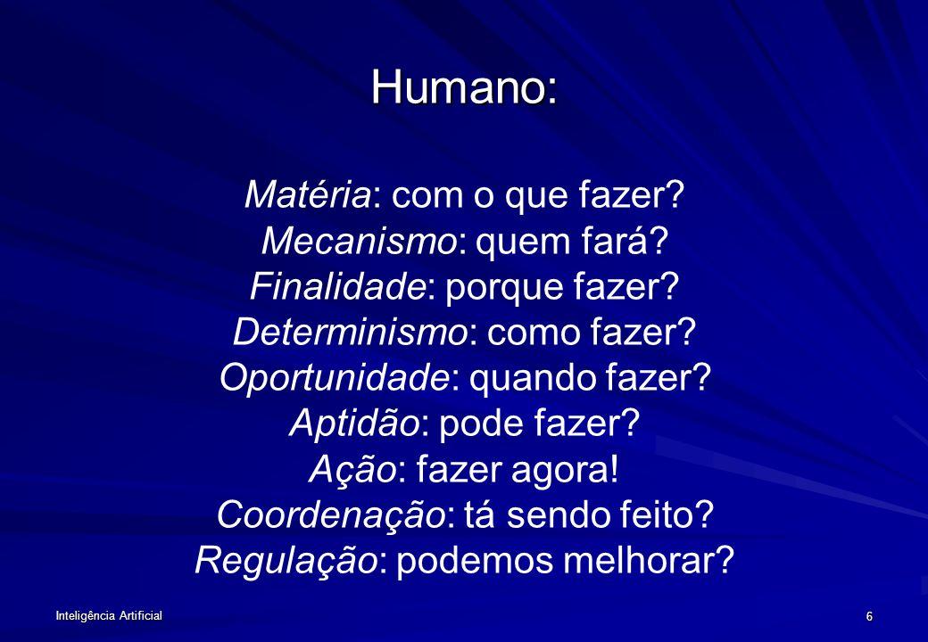 Inteligência Artificial 6 Humano: Humano: Matéria: com o que fazer.