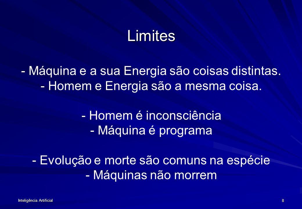 Inteligência Artificial 8 Limites Limites - Máquina e a sua Energia são coisas distintas.