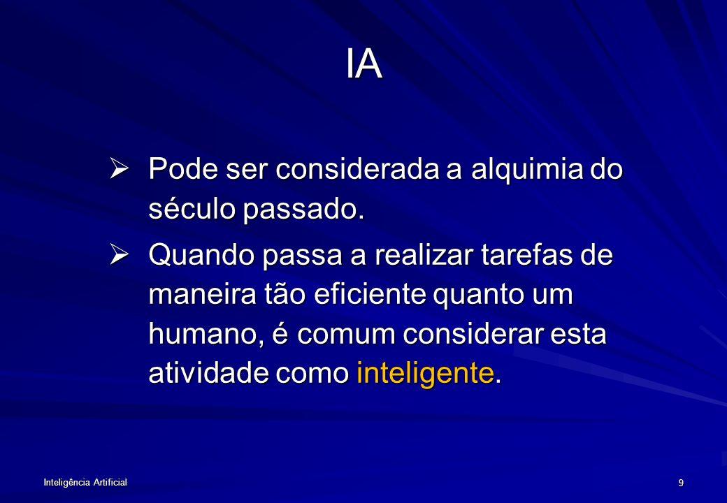 Inteligência Artificial 19 Interação com outras disciplinas Matemática Sociologia Psicologia Filosofia Lingüística Computação IA Neuro-fisiologia Genética
