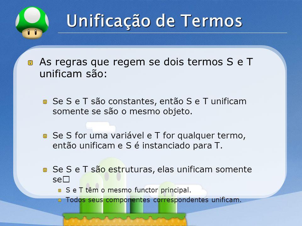 LOGO Unificação de Termos As regras que regem se dois termos S e T unificam são: Se S e T são constantes, então S e T unificam somente se são o mesmo
