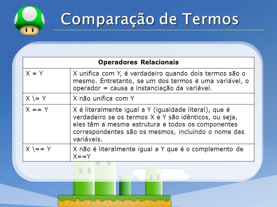 LOGO Comparação de Termos Operadores Relacionais X = YX unifica com Y, é verdadeiro quando dois termos são o mesmo. Entretanto, se um dos termos é uma