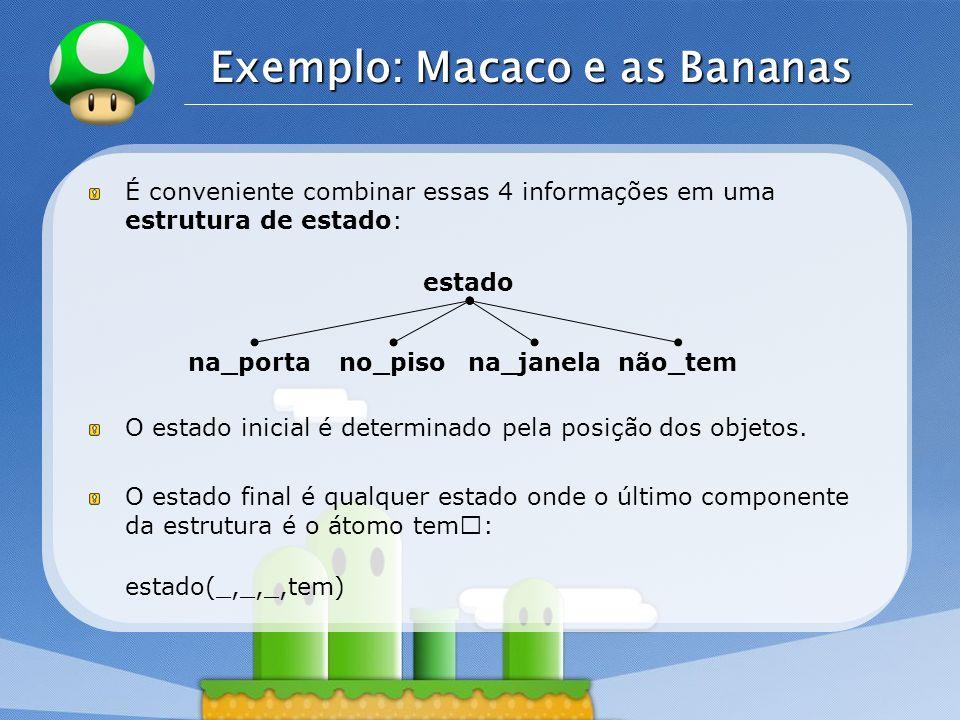 LOGO Exemplo: Macaco e as Bananas É conveniente combinar essas 4 informações em uma estrutura de estado: O estado inicial é determinado pela posição d