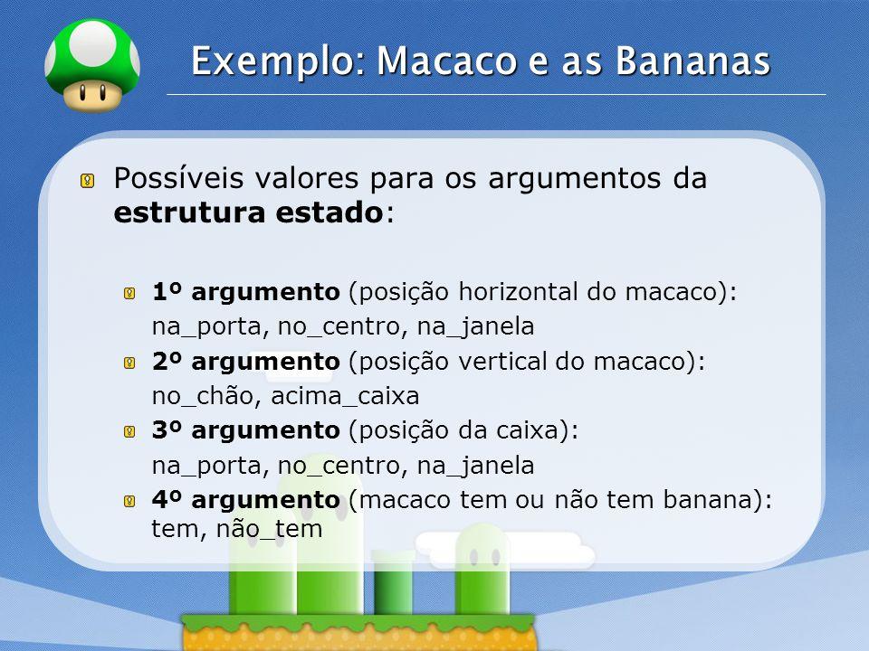 LOGO Exemplo: Macaco e as Bananas Possíveis valores para os argumentos da estrutura estado: 1º argumento (posição horizontal do macaco): na_porta, no_