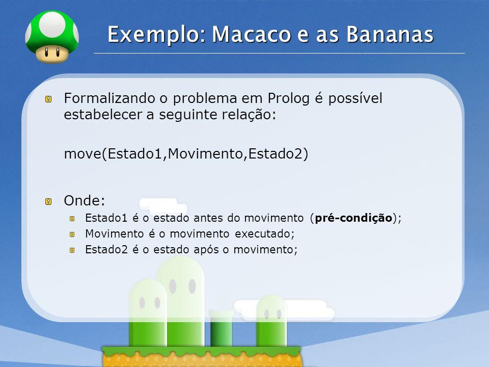 LOGO Exemplo: Macaco e as Bananas Formalizando o problema em Prolog é possível estabelecer a seguinte relação: move(Estado1,Movimento,Estado2) Onde: E