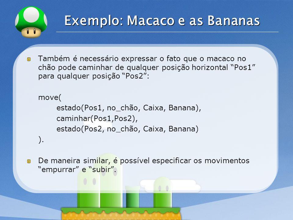 LOGO Exemplo: Macaco e as Bananas Também é necessário expressar o fato que o macaco no chão pode caminhar de qualquer posição horizontal Pos1 para qua