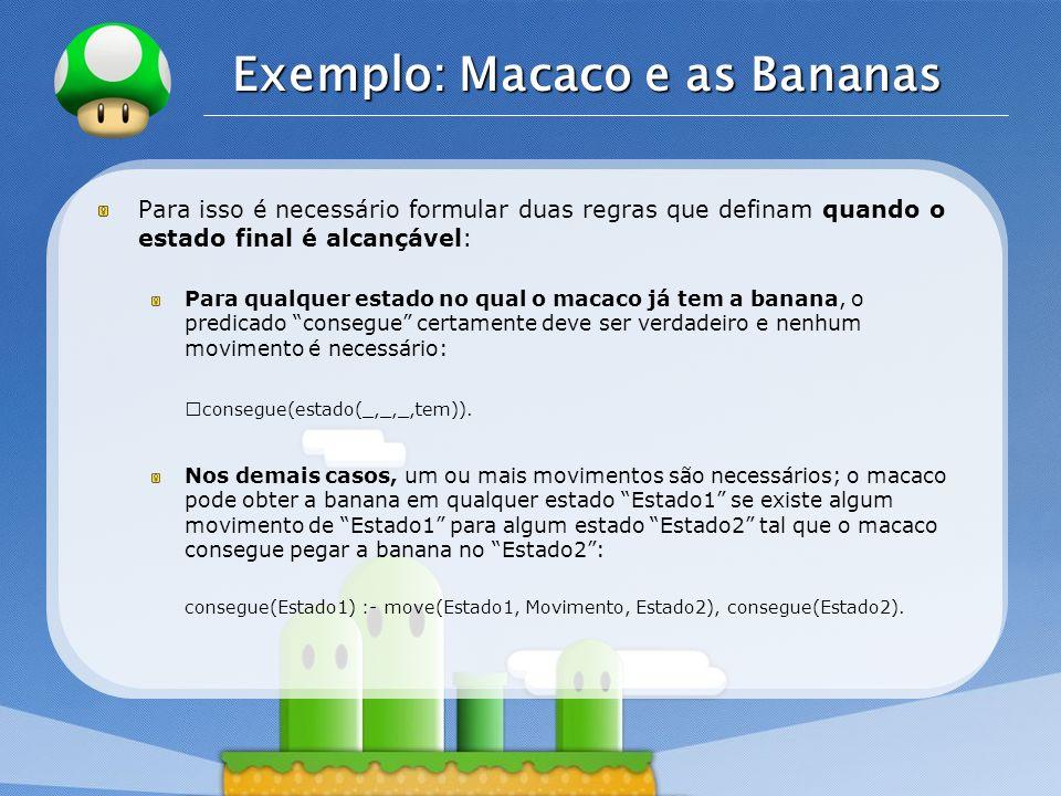 LOGO Exemplo: Macaco e as Bananas Para isso é necessário formular duas regras que definam quando o estado final é alcançável: Para qualquer estado no