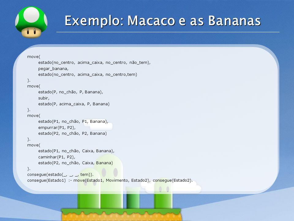 LOGO Exemplo: Macaco e as Bananas move( estado(no_centro, acima_caixa, no_centro, não_tem), pegar_banana, estado(no_centro, acima_caixa, no_centro,tem