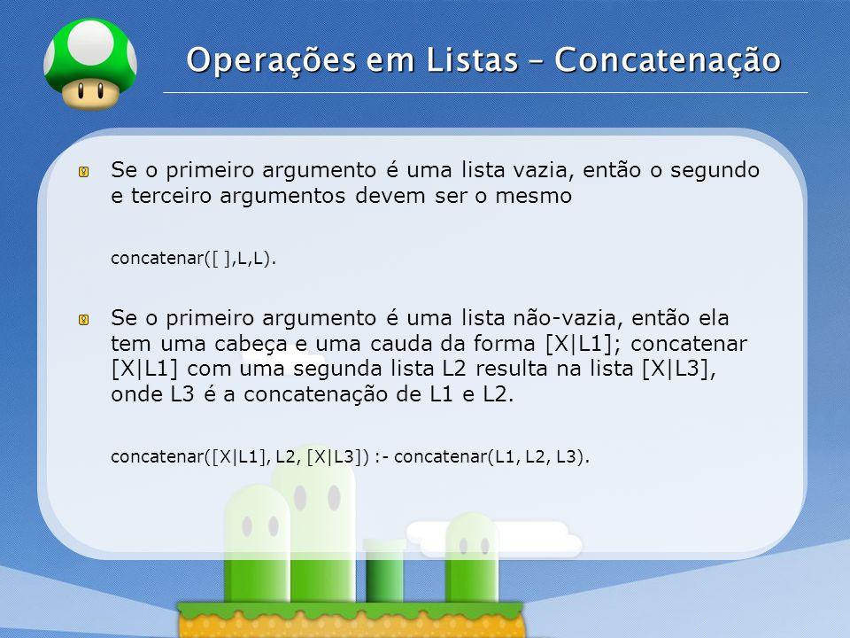 LOGO Operações em Listas – Concatenação Se o primeiro argumento é uma lista vazia, então o segundo e terceiro argumentos devem ser o mesmo concatenar(