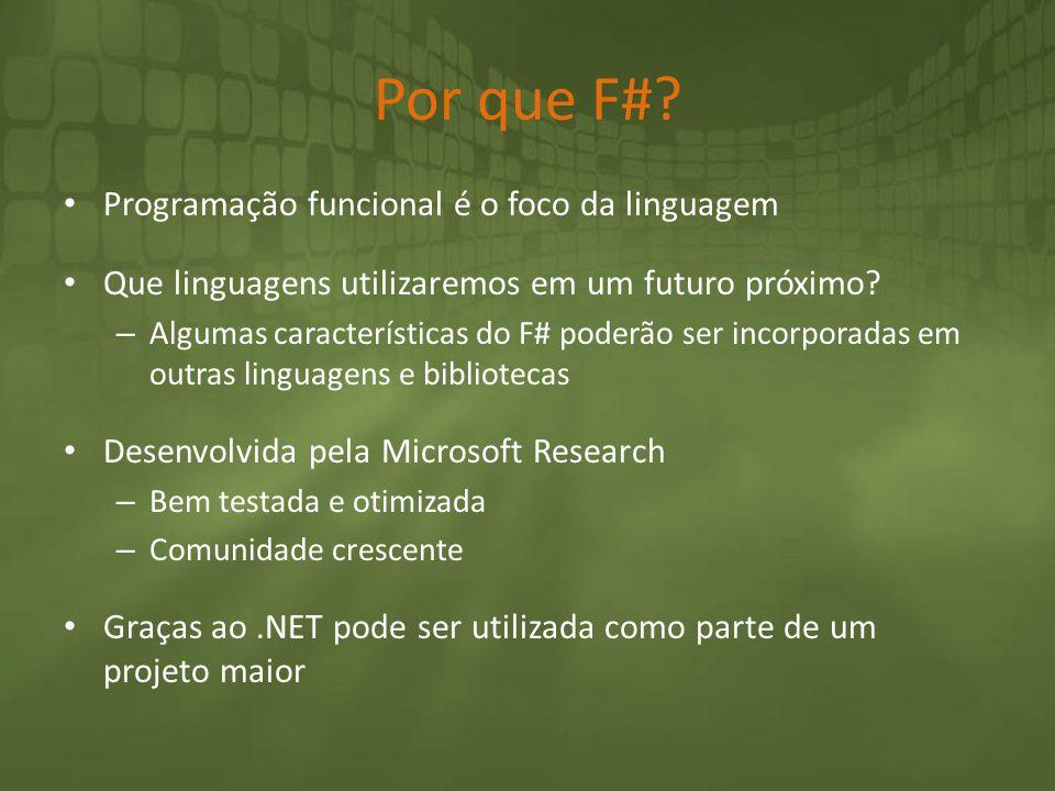 Por que F#? Programação funcional é o foco da linguagem Que linguagens utilizaremos em um futuro próximo? – Algumas características do F# poderão ser