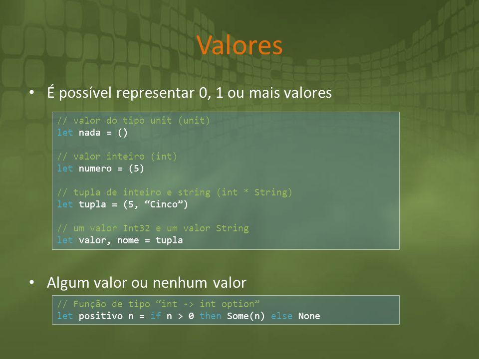 Valores É possível representar 0, 1 ou mais valores Algum valor ou nenhum valor // valor do tipo unit (unit) let nada = () // valor inteiro (int) let