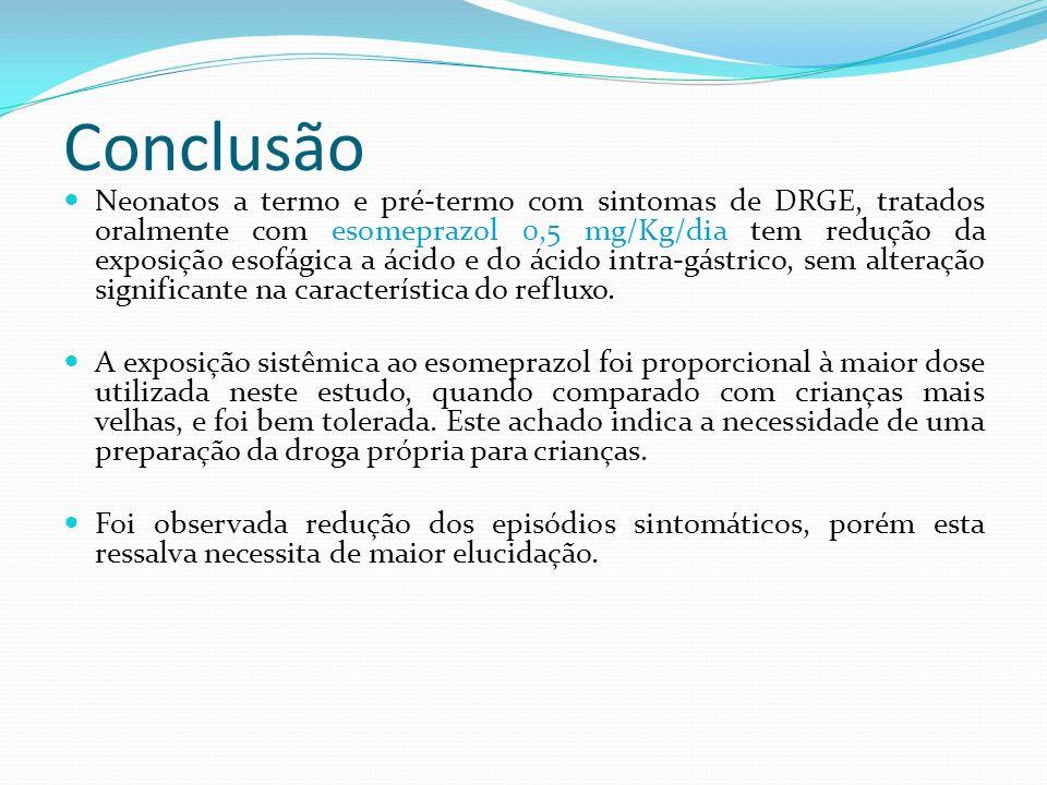 Conclusão Neonatos a termo e pré-termo com sintomas de DRGE, tratados oralmente com esomeprazol 0,5 mg/Kg/dia tem redução da exposição esofágica a áci