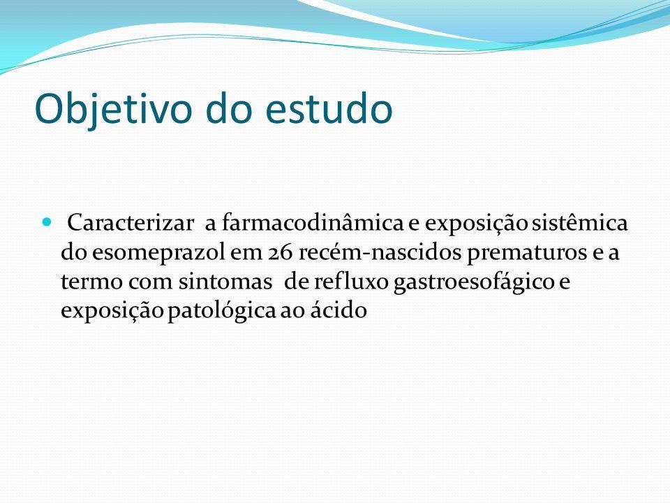 Objetivo do estudo Caracterizar a farmacodinâmica e exposição sistêmica do esomeprazol em 26 recém-nascidos prematuros e a termo com sintomas de reflu