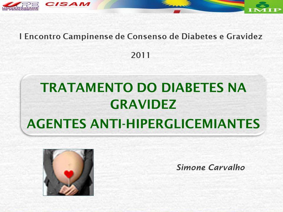 Gliburide e Acarbose – promissores /DMG Gliburide: Controle glicemia maioria mulheres Mais eficiente Acarbose Bertini AM, et al., 2005 - A Não – controle (%) GIG (%) HipoG (n) - 3,7 - 3,7 - Insulina 5 (20,8) 25,0 6 Gliburide 8 (42,1) 10,5 - 8 (42,1) 10,5 - AcarboseRN G1 – insulina (n=27) G2 – gliburide (n=24) G3 – acarbose (n=19) 70 mulheres /DMG ACARBOSE – na gravidez ?
