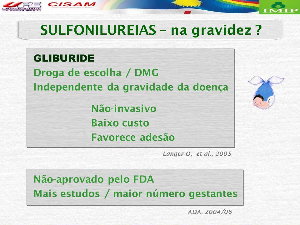 Langer O, et al., 2005 Não-aprovado pelo FDA Mais estudos / maior número gestantes ADA, 2004/06 GLIBURIDE Droga de escolha / DMG Independente da gravi