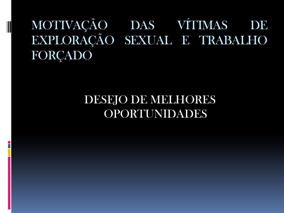 MOTIVAÇÃO DAS VÍTIMAS DE EXPLORAÇÃO SEXUAL E TRABALHO FORÇADO DESEJO DE MELHORES OPORTUNIDADES