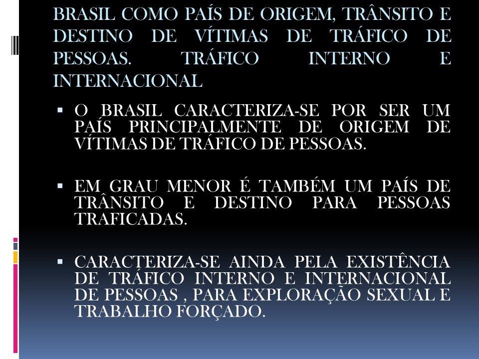 BRASIL COMO PAÍS DE ORIGEM, TRÂNSITO E DESTINO DE VÍTIMAS DE TRÁFICO DE PESSOAS. TRÁFICO INTERNO E INTERNACIONAL O BRASIL CARACTERIZA-SE POR SER UM PA
