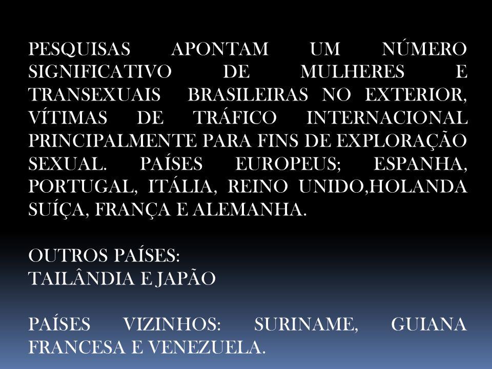 PESQUISAS APONTAM UM NÚMERO SIGNIFICATIVO DE MULHERES E TRANSEXUAIS BRASILEIRAS NO EXTERIOR, VÍTIMAS DE TRÁFICO INTERNACIONAL PRINCIPALMENTE PARA FINS