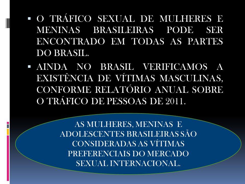 O TRÁFICO SEXUAL DE MULHERES E MENINAS BRASILEIRAS PODE SER ENCONTRADO EM TODAS AS PARTES DO BRASIL. AINDA NO BRASIL VERIFICAMOS A EXISTÊNCIA DE VÍTIM
