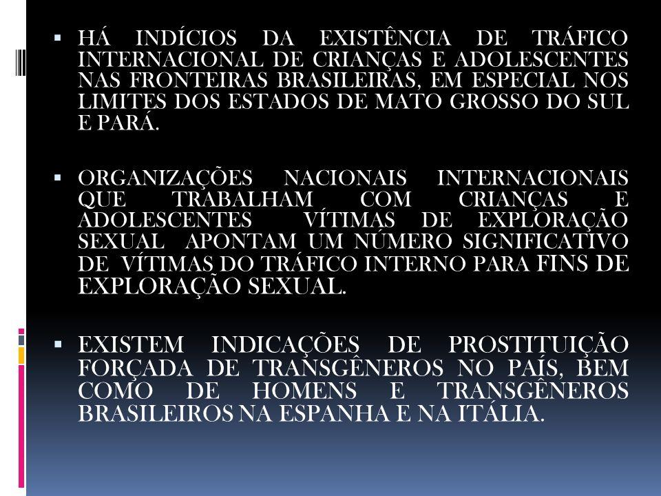 HÁ INDÍCIOS DA EXISTÊNCIA DE TRÁFICO INTERNACIONAL DE CRIANÇAS E ADOLESCENTES NAS FRONTEIRAS BRASILEIRAS, EM ESPECIAL NOS LIMITES DOS ESTADOS DE MATO