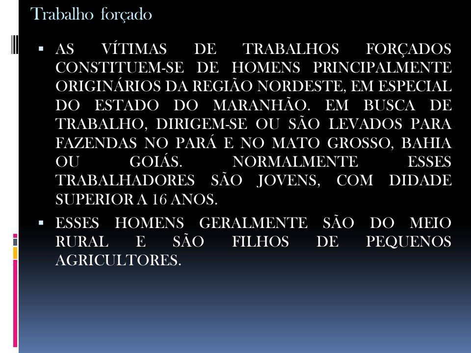 Trabalho forçado AS VÍTIMAS DE TRABALHOS FORÇADOS CONSTITUEM-SE DE HOMENS PRINCIPALMENTE ORIGINÁRIOS DA REGIÃO NORDESTE, EM ESPECIAL DO ESTADO DO MARA