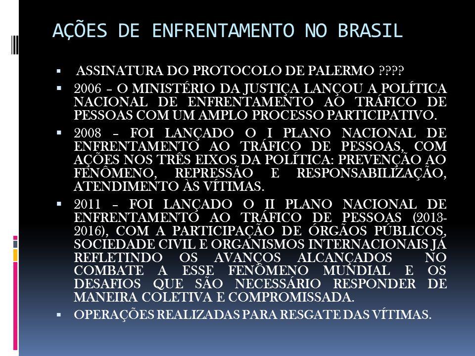 AÇÕES DE ENFRENTAMENTO NO BRASIL ASSINATURA DO PROTOCOLO DE PALERMO ???? 2006 – O MINISTÉRIO DA JUSTIÇA LANÇOU A POLÍTICA NACIONAL DE ENFRENTAMENTO AO