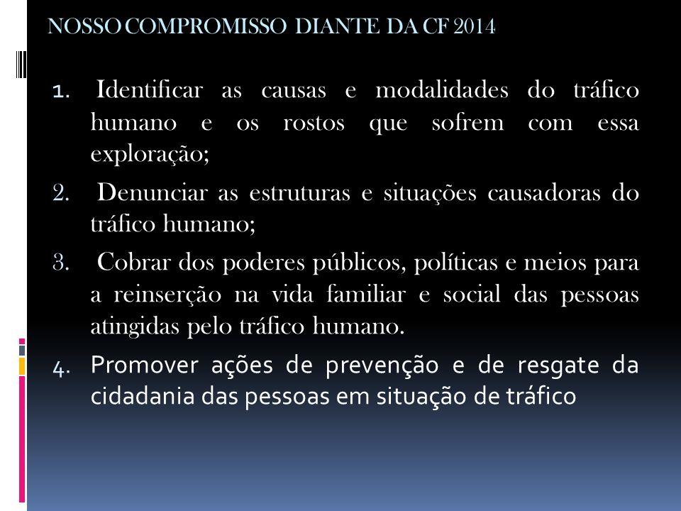 NOSSO COMPROMISSO DIANTE DA CF 2014 1. Identificar as causas e modalidades do tráfico humano e os rostos que sofrem com essa exploração; 2. Denunciar