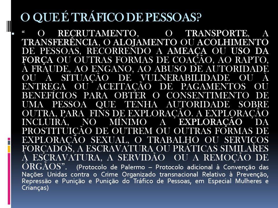 O QUE É TRÁFICO DE PESSOAS? O RECRUTAMENTO, O TRANSPORTE, A TRANSFERÊNCIA, O ALOJAMENTO OU ACOLHIMENTO DE PESSOAS, RECORRENDO A AMEAÇA OU USO DA FORÇA