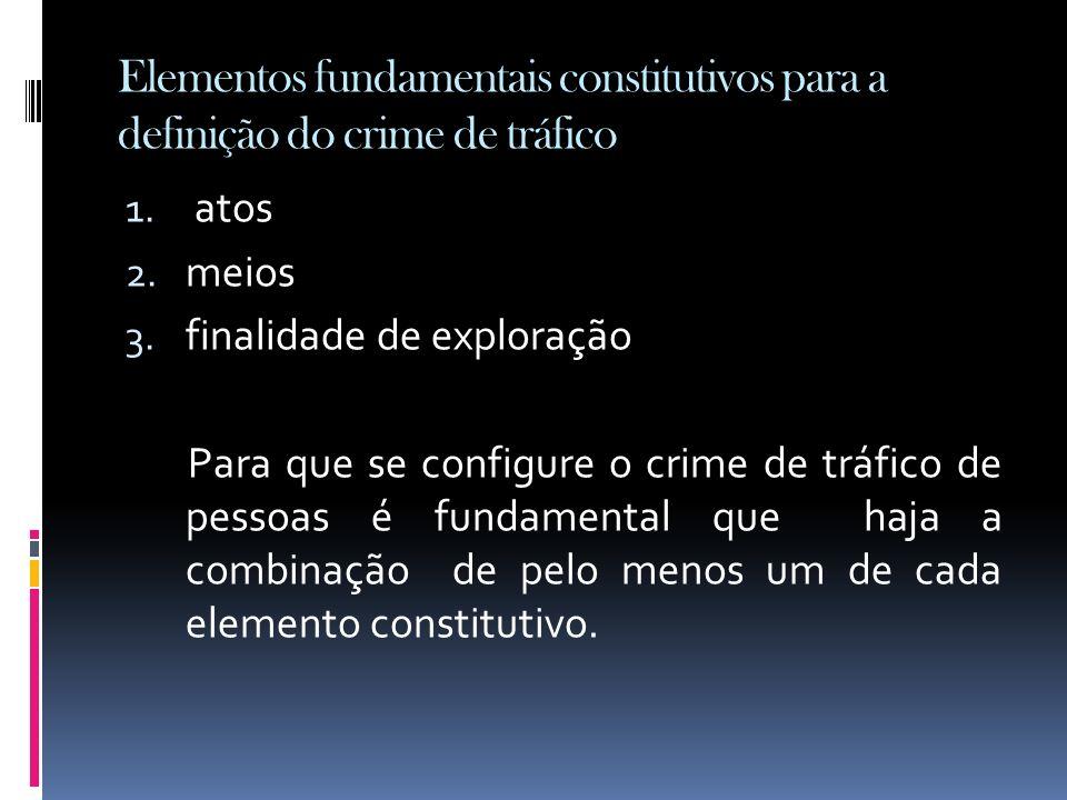 Elementos fundamentais constitutivos para a definição do crime de tráfico 1. atos 2. meios 3. finalidade de exploração Para que se configure o crime d