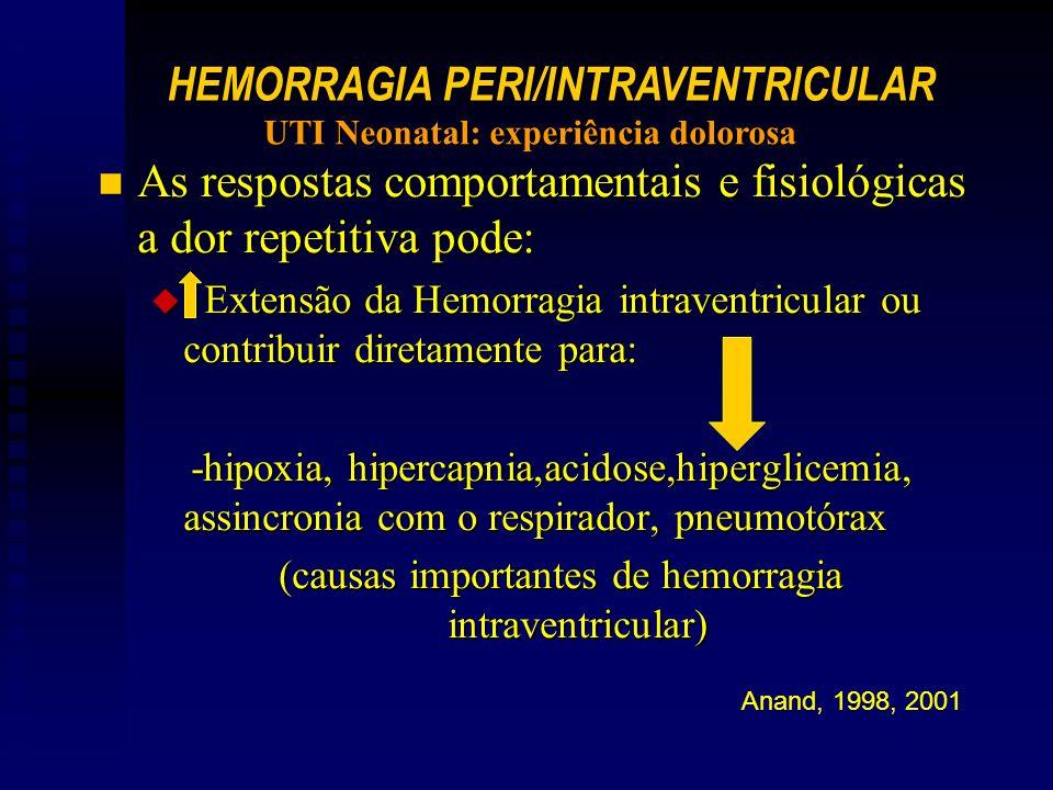 n As respostas comportamentais e fisiológicas a dor repetitiva pode: u Extensão da Hemorragia intraventricular ou contribuir diretamente para: -hipoxia, hipercapnia,acidose,hiperglicemia, assincronia com o respirador, pneumotórax -hipoxia, hipercapnia,acidose,hiperglicemia, assincronia com o respirador, pneumotórax (causas importantes de hemorragia intraventricular) Anand, 1998, 2001 HEMORRAGIA PERI/INTRAVENTRICULAR UTI Neonatal: experiência dolorosa
