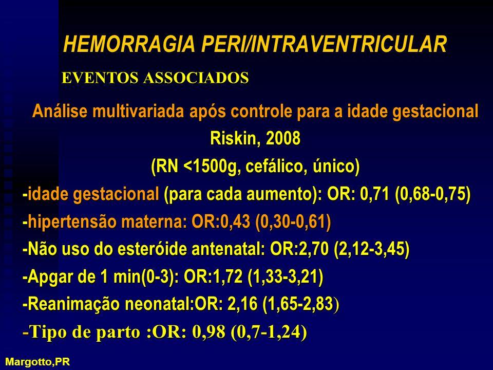 Análise multivariada após controle para a idade gestacional Riskin, 2008 (RN <1500g, cefálico, único) -idade gestacional (para cada aumento): OR: 0,71 (0,68-0,75) -hipertensão materna: OR:0,43 (0,30-0,61) -Não uso do esteróide antenatal: OR:2,70 (2,12-3,45) -Apgar de 1 min(0-3): OR:1,72 (1,33-3,21) -Reanimação neonatal:OR: 2,16 (1,65-2,83 ) -Tipo de parto :OR: 0,98 (0,7-1,24) HEMORRAGIA PERI/INTRAVENTRICULAR EVENTOS ASSOCIADOS Margotto,PR