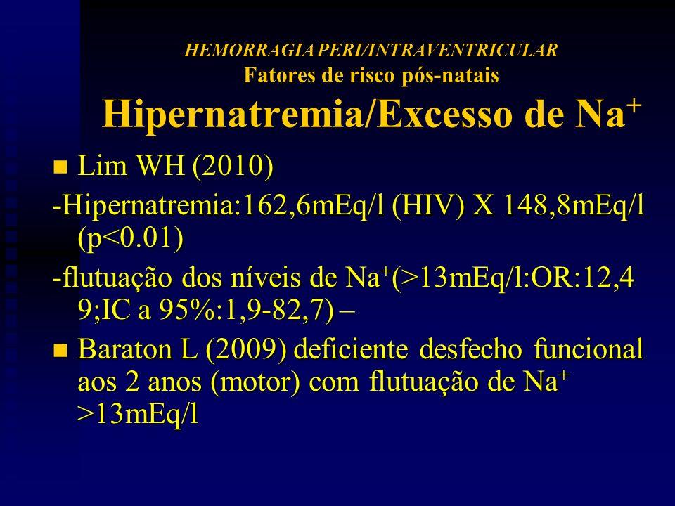 n Lim WH (2010) -Hipernatremia:162,6mEq/l (HIV) X 148,8mEq/l (p<0.01) -flutuação dos níveis de Na + (>13mEq/l:OR:12,4 9;IC a 95%:1,9-82,7) – n Baraton L (2009) deficiente desfecho funcional aos 2 anos (motor) com flutuação de Na + >13mEq/l HEMORRAGIA PERI/INTRAVENTRICULAR Fatores de risco pós-natais Hipernatremia/Excesso de Na +