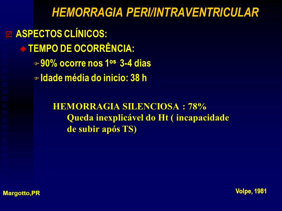 þ ASPECTOS CLÍNICOS: u TEMPO DE OCORRÊNCIA: F 90% ocorre nos 1 os 3-4 dias F Idade média do inicio: 38 h HEMORRAGIA PERI/INTRAVENTRICULAR Margotto,PR Volpe, 1981 HEMORRAGIA SILENCIOSA : 78% Queda inexplicável do Ht ( incapacidade de subir após TS)