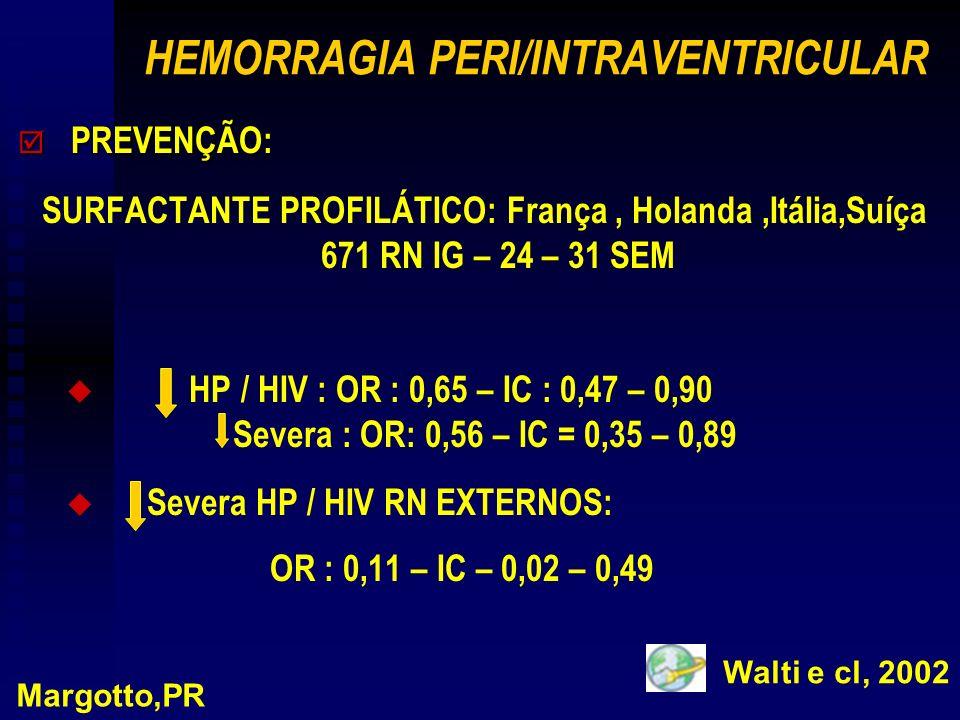 HEMORRAGIA PERI/INTRAVENTRICULAR þ PREVENÇÃO: SURFACTANTE PROFILÁTICO: França, Holanda,Itália,Suíça 671 RN IG – 24 – 31 SEM u u HP / HIV : OR : 0,65 – IC : 0,47 – 0,90 Severa : OR: 0,56 – IC = 0,35 – 0,89 u u Severa HP / HIV RN EXTERNOS: OR : 0,11 – IC – 0,02 – 0,49 Margotto,PR Walti e cl, 2002