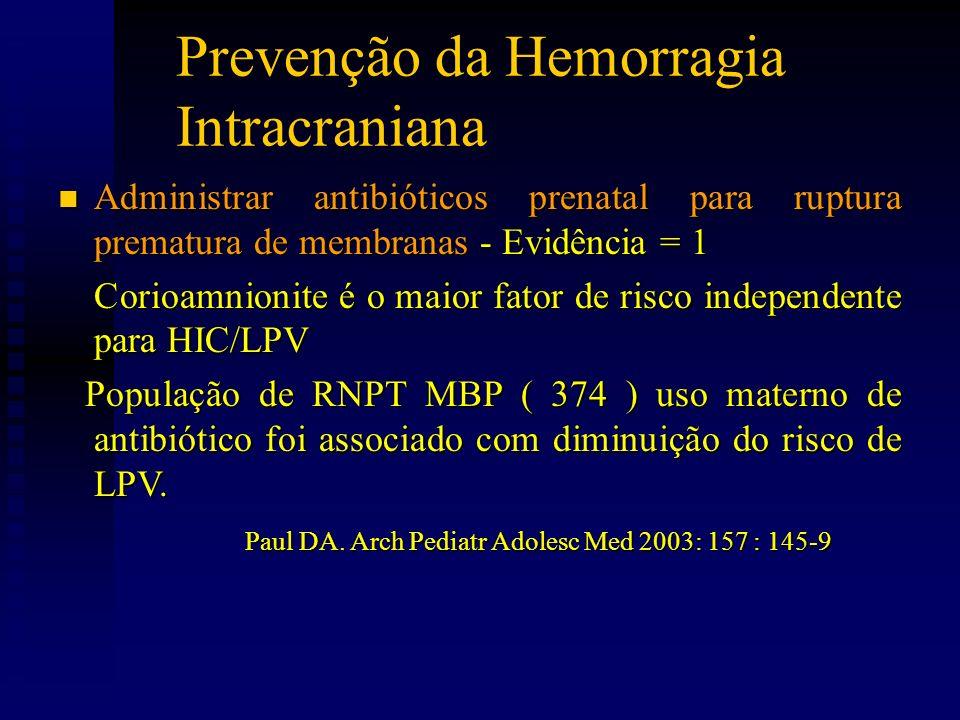 Prevenção da Hemorragia Intracraniana n Administrar antibióticos prenatal para ruptura prematura de membranas - Evidência = 1 Corioamnionite é o maior fator de risco independente para HIC/LPV Corioamnionite é o maior fator de risco independente para HIC/LPV População de RNPT MBP ( 374 ) uso materno de antibiótico foi associado com diminuição do risco de LPV.