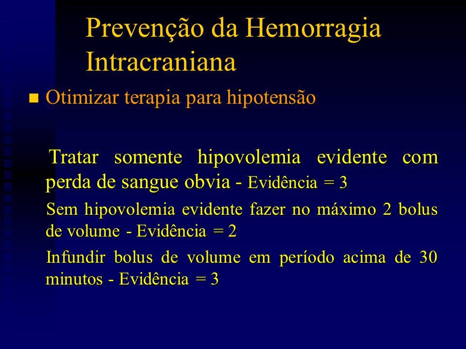 Prevenção da Hemorragia Intracraniana n Otimizar terapia para hipotensão Tratar somente hipovolemia evidente com perda de sangue obvia - Evidência = 3 Tratar somente hipovolemia evidente com perda de sangue obvia - Evidência = 3 Sem hipovolemia evidente fazer no máximo 2 bolus de volume - Evidência = 2 Sem hipovolemia evidente fazer no máximo 2 bolus de volume - Evidência = 2 Infundir bolus de volume em período acima de 30 minutos - Evidência = 3 Infundir bolus de volume em período acima de 30 minutos - Evidência = 3