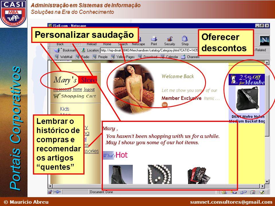 sumnet@microlink.com.br © Mauricio Abreusumnet.consultores@gmail.com Administração em Sistemas de Informação Soluções na Era do Conhecimento Personali