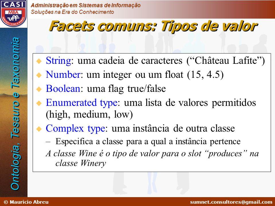 sumnet@microlink.com.br © Mauricio Abreusumnet.consultores@gmail.com Administração em Sistemas de Informação Soluções na Era do Conhecimento Facets co
