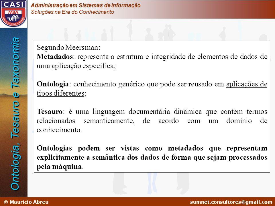 sumnet@microlink.com.br © Mauricio Abreusumnet.consultores@gmail.com Administração em Sistemas de Informação Soluções na Era do Conhecimento Segundo M