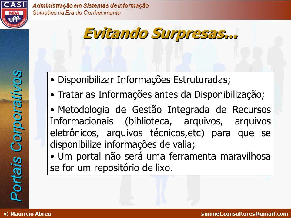 sumnet@microlink.com.br © Mauricio Abreusumnet.consultores@gmail.com Administração em Sistemas de Informação Soluções na Era do Conhecimento Evitando